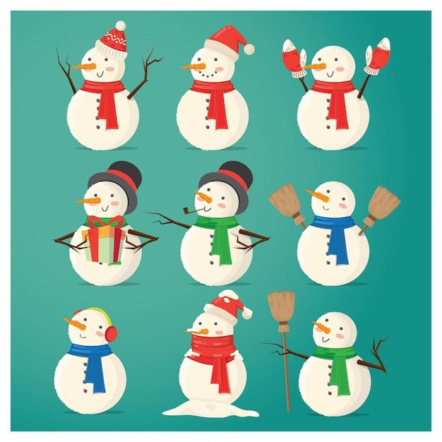 Chirstmas sneeuwpop karakter Premium Vector