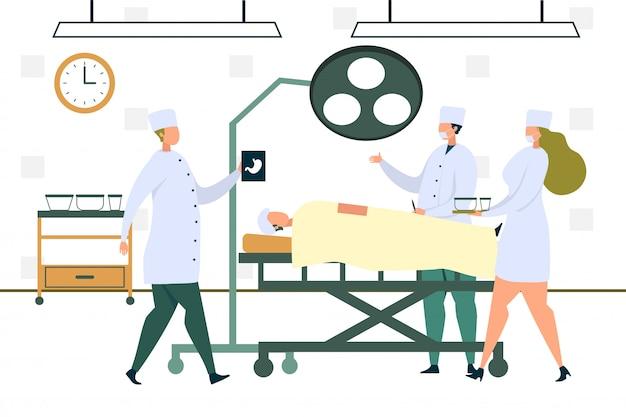 Chirurg arts in jas opererende patiëntmaag Premium Vector