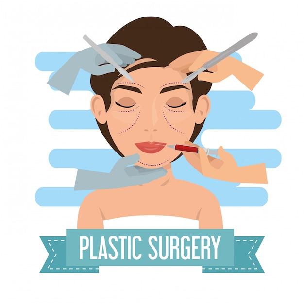 Chirurg handen met vrouw plastische chirurgie proces Gratis Vector