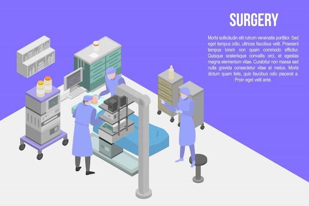 Chirurgie concept banner, isometrische stijl Premium Vector