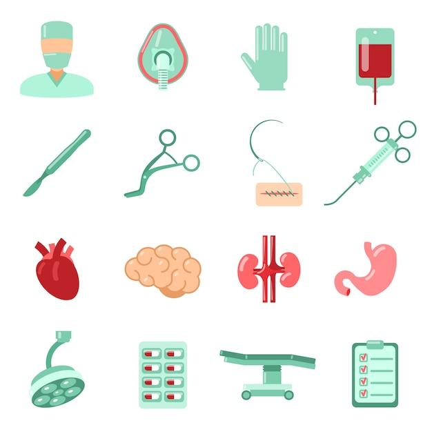 Chirurgie icons set Premium Vector
