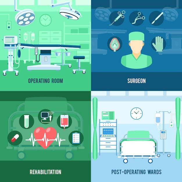 Chirurgie vierkante banners Premium Vector