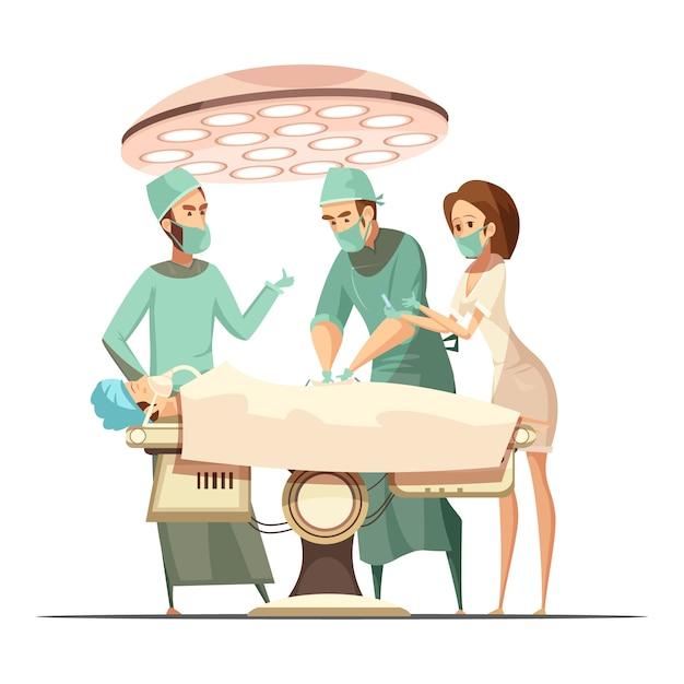 Chirurgieontwerp in beeldverhaal retro stijl met werkende lamp medisch personeel en patiënt op lijst Gratis Vector