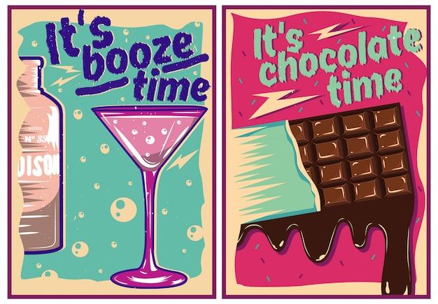 Chocolade en cocktail posters in vintage stijl Premium Vector
