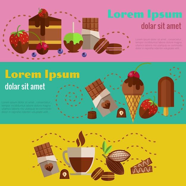 Chocolade en koffie, desserts en cakes retro uitstekende geplaatste banners Gratis Vector