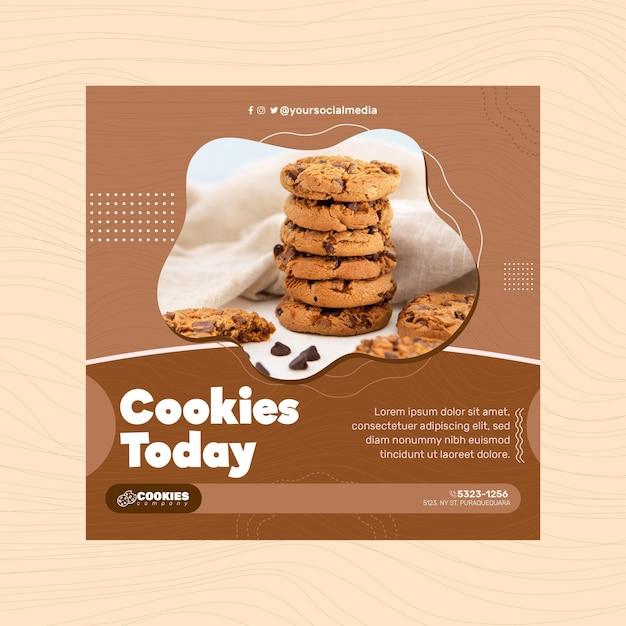 Chocolade koekjes flyer vierkant Gratis Vector