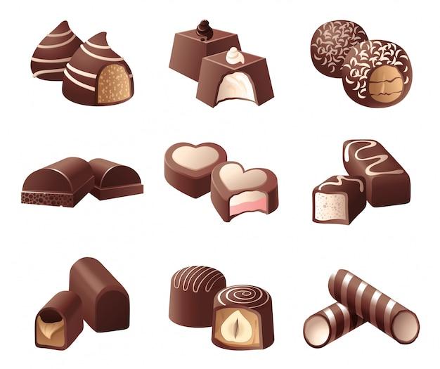 Chocolade snoepjes Premium Vector
