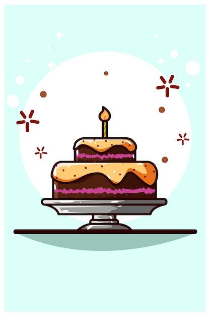 Chocolade teer cake cartoon afbeelding Premium Vector
