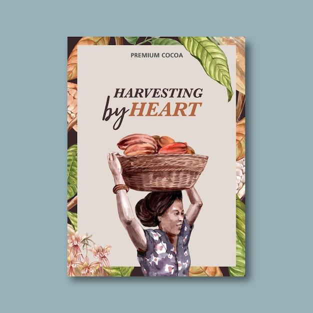 Chocoladeaffiche met vrouw het oogsten ingrediëntencacao, waterverfillustratie Gratis Vector