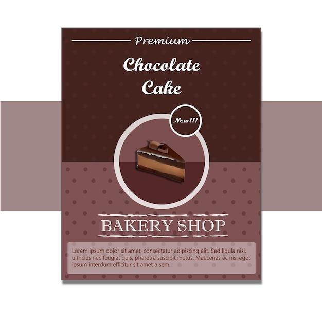 Chocoladecake flyer Premium Vector