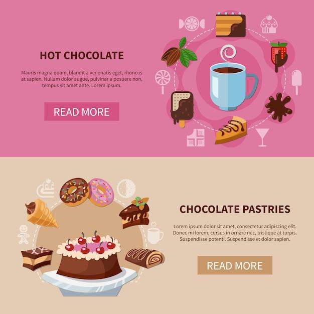 Chocoladedrank en gebak banners Gratis Vector