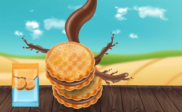 Chocoladeroomkoekjes mock up Premium Vector