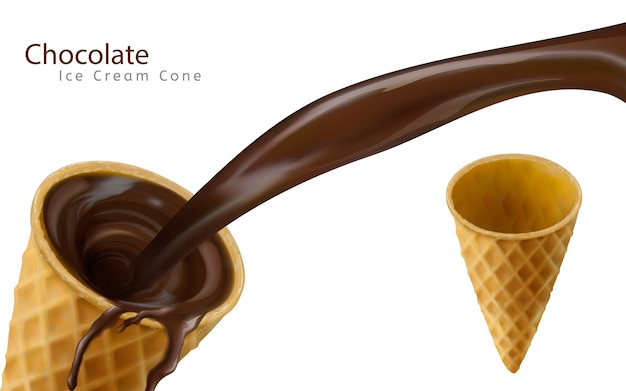 Chocoladesaus naar beneden gieten in lege ijshoorntje Premium Vector