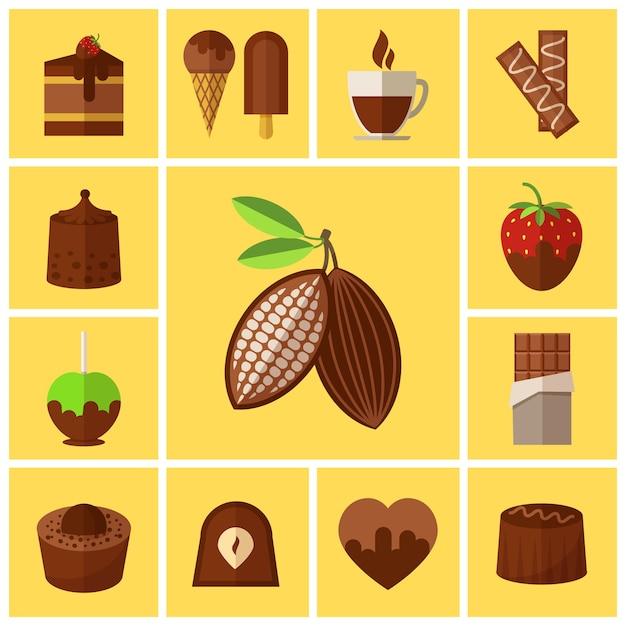 Chocoladesnoepjes, cakes en cacaobonen set Gratis Vector