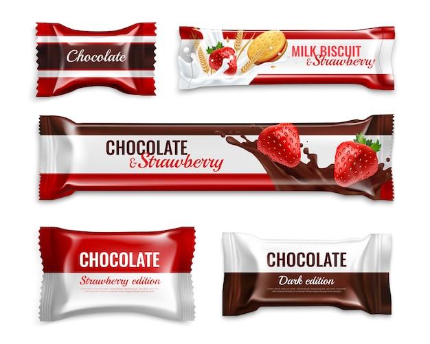 Chocoladesuikergoed en koekjes realistische die verpakking met heerlijke geïsoleerde kleurrijke de ingrediënten van de melkaardbei wordt geplaatst Gratis Vector