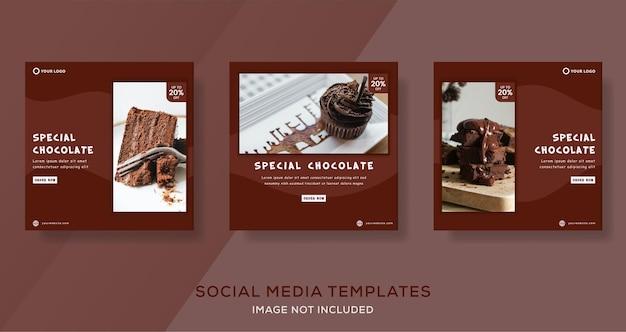 Chocoladetaart banner sjabloon post Premium Vector