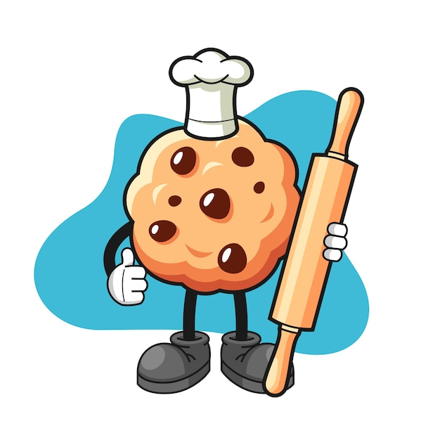 Chocolate chip cookie cartoon met thumbs up pose Premium Vector