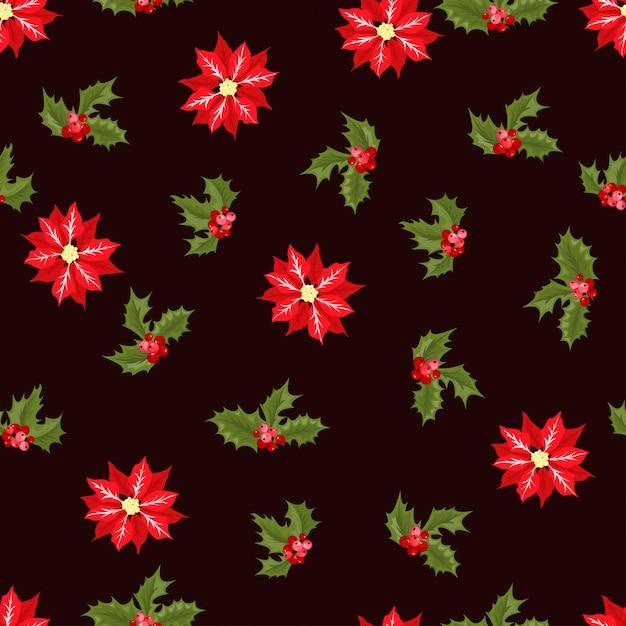 Christmas berry bloem vector naadloze patroon. Premium Vector