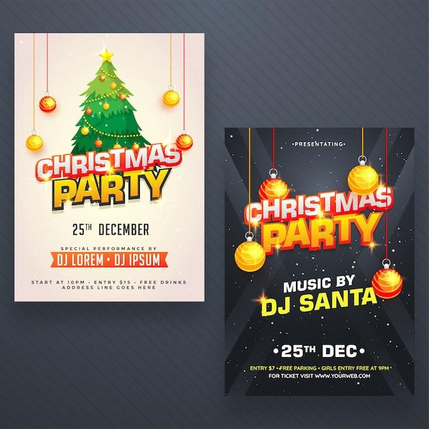Christmas night party poster, banner of flyer design in twee kleurenopties. Premium Vector