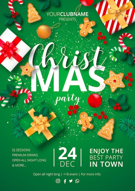 Christmas Party Poster Klaar om te printen Gratis Vector