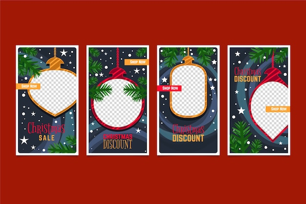 Christmas sale instagram story pack Gratis Vector