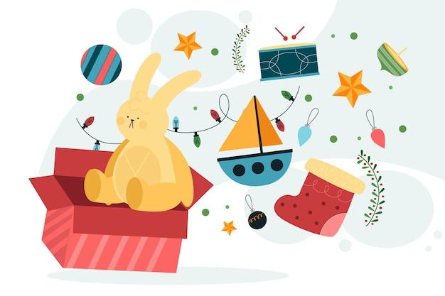 Christmas speelgoed achtergrond in platte ontwerp Gratis Vector