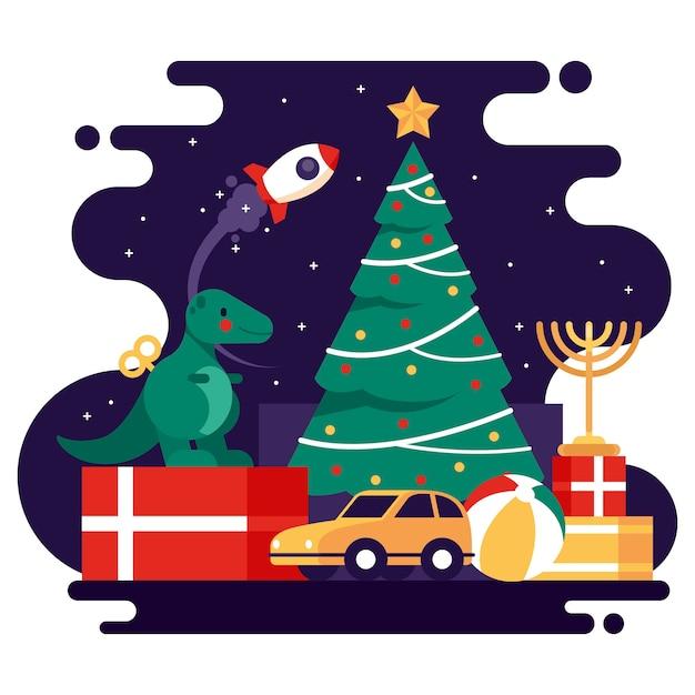 Christmas speelgoed platte achtergrond Gratis Vector
