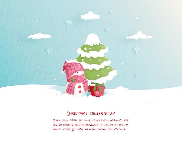 Christmas wenskaart in papier gesneden stijl. vector illustratie Premium Vector