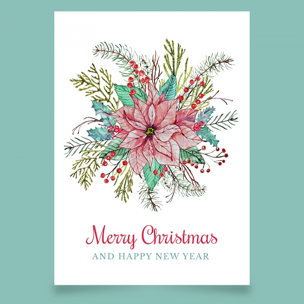 Christmas wenskaart met bloem Premium Vector