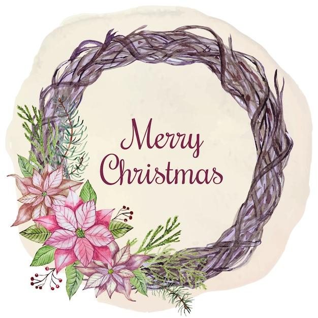 Christmas wenskaart met bloemen en bladeren Premium Vector