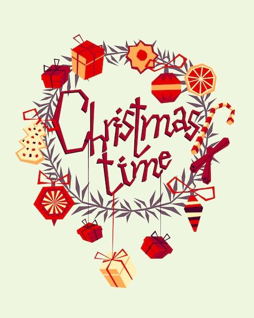 Christmas wenskaart met hand getrokken decoratieve elementen en zucht. trendy vintage stijl. Premium Vector