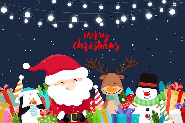 Christmas wenskaart met kerst kerstman, sneeuwpop en rendieren. vector illustratie Premium Vector