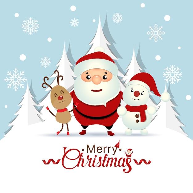 Christmas wenskaart met kerst santa claus, sneeuwpop en rendieren. vector illustratie Gratis Vector