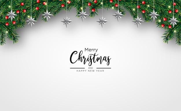 Christmas wenskaart met lichte realistische decoratieve elementen kerst achtergrond Premium Vector