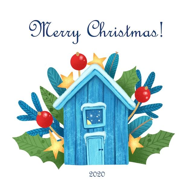 Christmas wenskaart met magische huis 's nachts Premium Vector