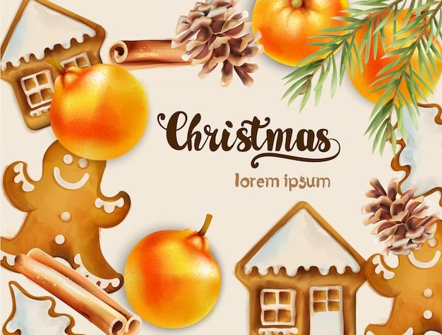 Christmas wenskaart met ornamenten Premium Vector