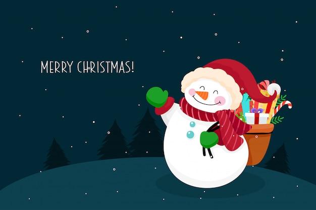 Christmas wenskaart met sneeuwpop karakter. vector illustratie Premium Vector