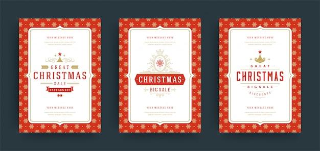 Christmas wenskaart met tekstframe Premium Vector