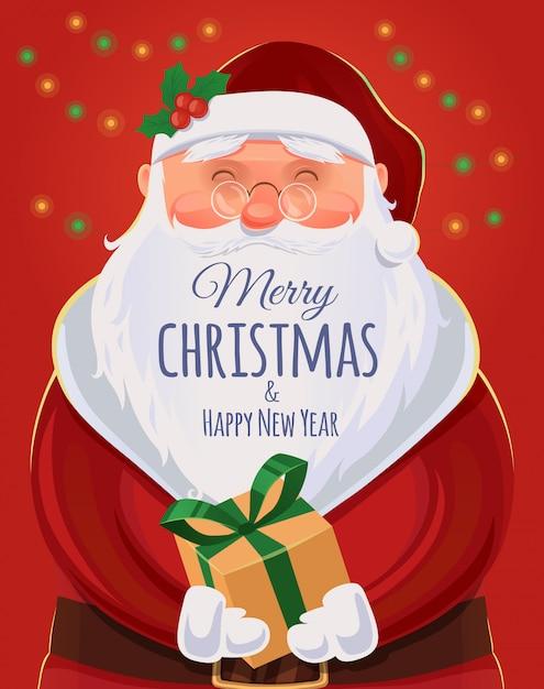 Christmas wenskaart, poster. kerstman portret. grappige kerstman. . vrolijk kerstfeest en een gelukkig nieuwjaar Premium Vector