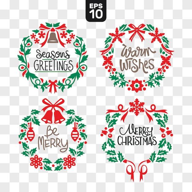 Christmas wreaths cutting file collection set met wensencitaat Premium Vector