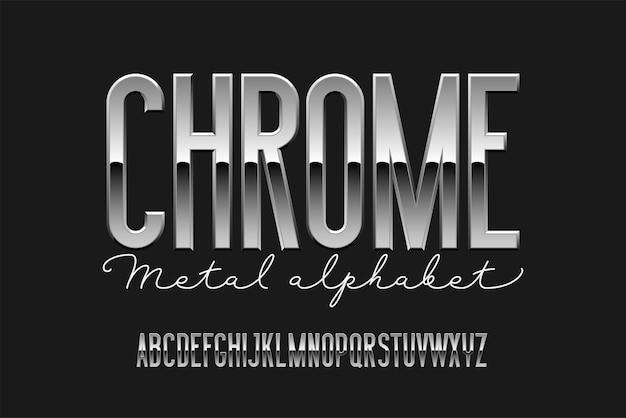 Chroom gecondenseerd modern alfabet. sans serif metalen lettertype. technologie typografie zilveren letters. Premium Vector