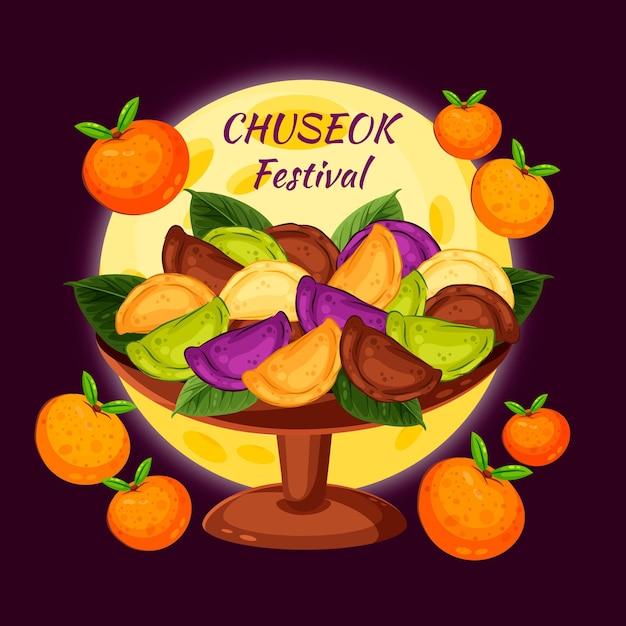 Chuseok-concept in plat ontwerp Gratis Vector