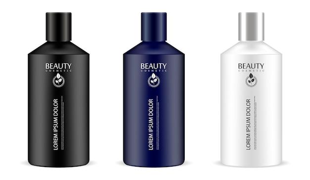 Cilindrische cosmetische flessen in één set Premium Vector
