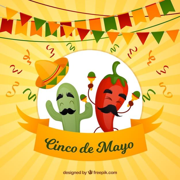 Cinco de mayo achtergrond met grappige chili Gratis Vector