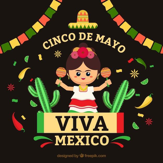 Cinco de mayo achtergrond met mexicaanse vrouw Gratis Vector