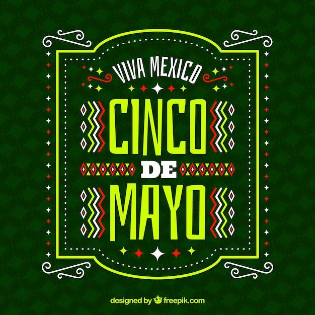 Cinco de mayo achtergrond met ornamenten Gratis Vector