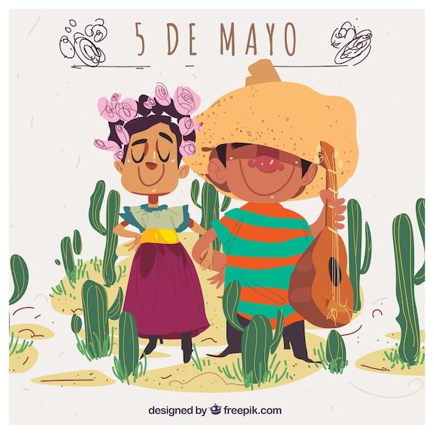 Cinco de mayo achtergrond met schattige mexicaanse paar en cactus Gratis Vector