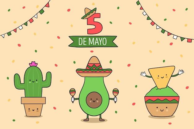 Cinco de mayo achtergrond Gratis Vector