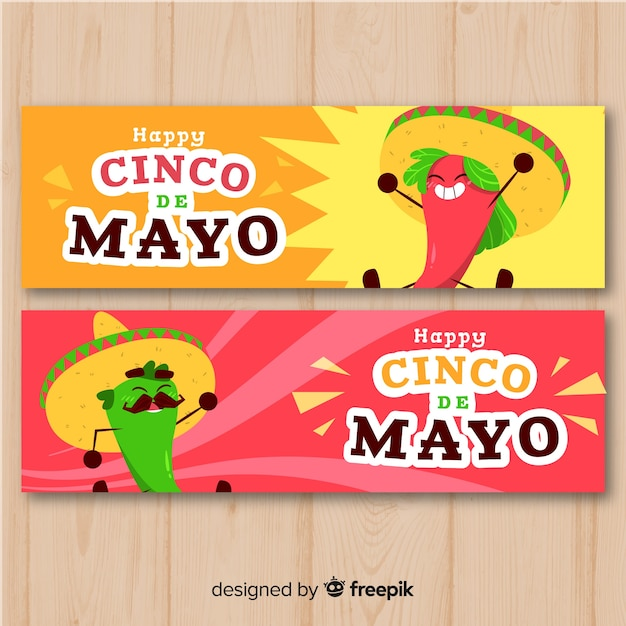 Cinco de mayo-banners Gratis Vector