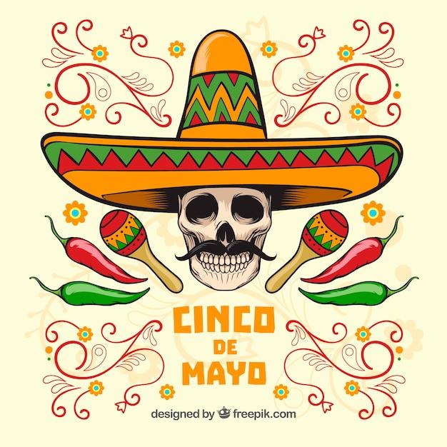 Cinco de mayo schedel achtergrond met mexicaanse hoed Premium Vector